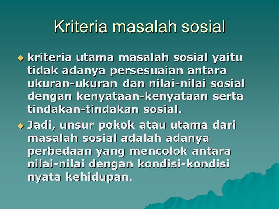 Kriteria masalah sosial