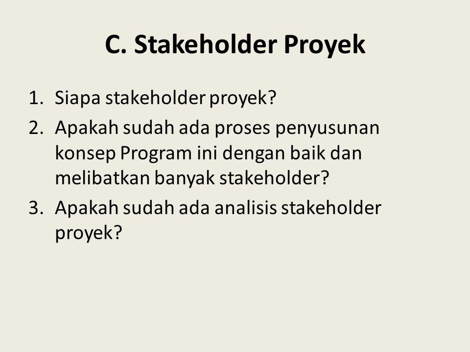 C. Stakeholder Proyek Siapa stakeholder proyek