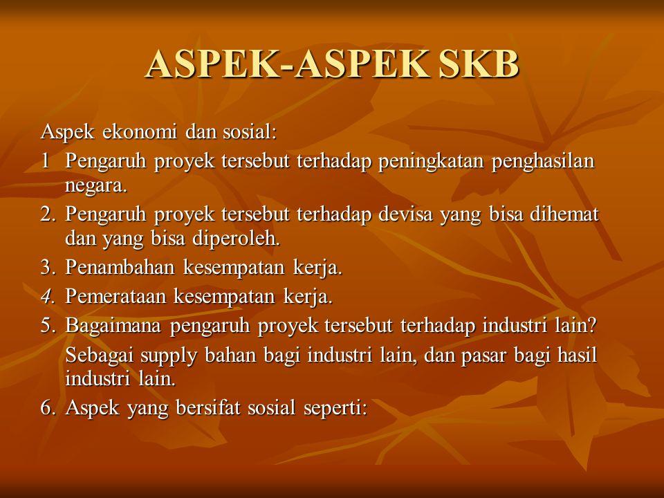 ASPEK-ASPEK SKB Aspek ekonomi dan sosial: