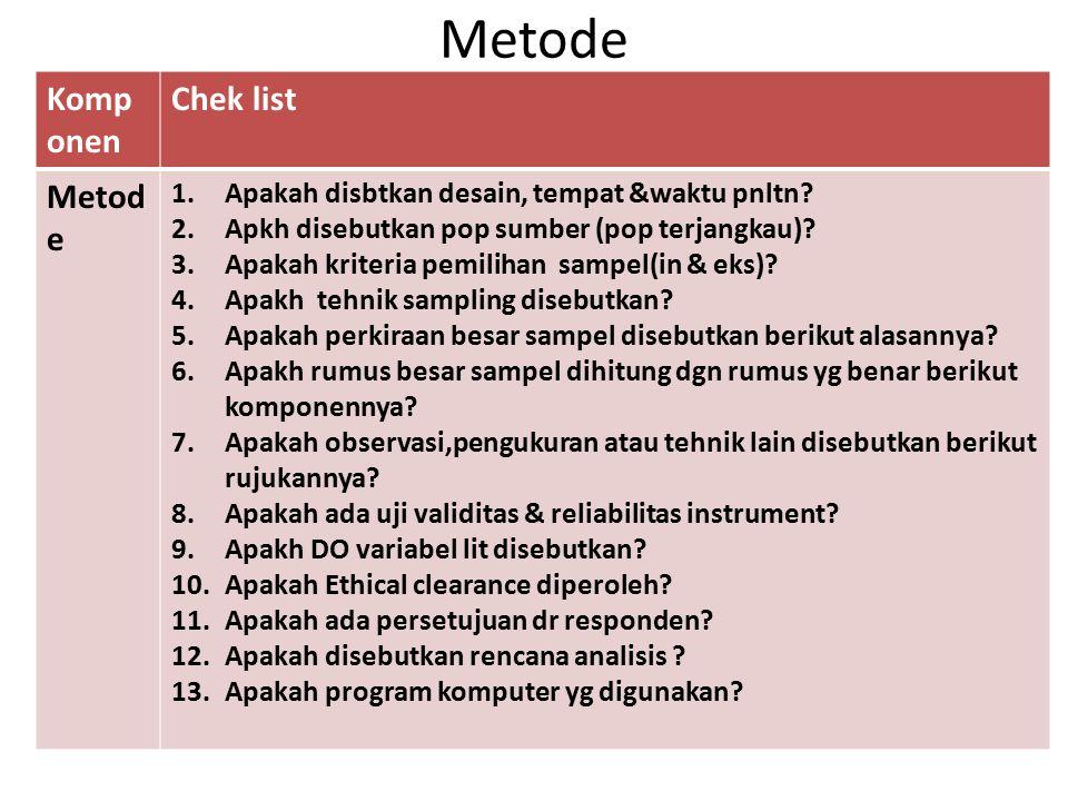 Metode Komponen Chek list Metode