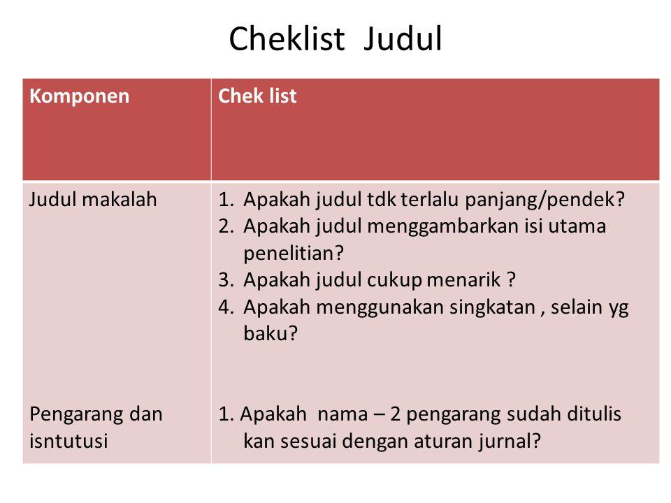 Cheklist Judul Komponen Chek list Judul makalah