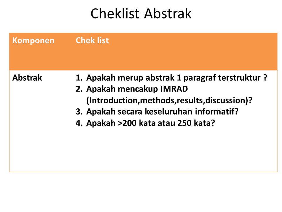 Cheklist Abstrak Komponen Chek list Abstrak