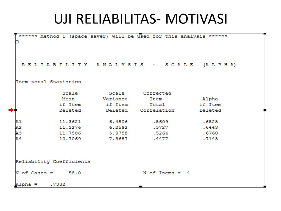 UJI RELIABILITAS- MOTIVASI