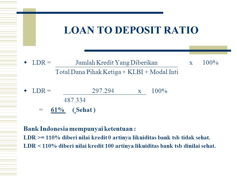 LOAN TO DEPOSIT RATIO LDR = Jumlah Kredit Yang Diberikan x 100%
