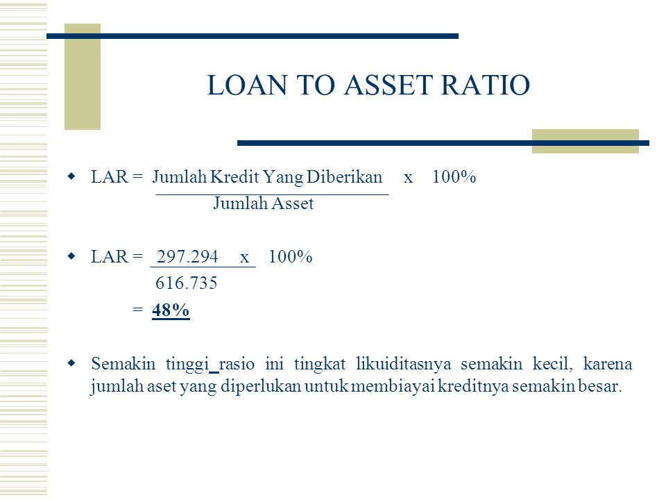 LOAN TO ASSET RATIO LAR = Jumlah Kredit Yang Diberikan x 100%