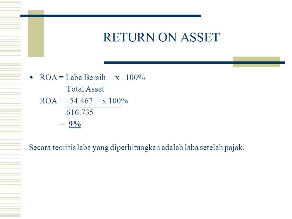 RETURN ON ASSET ROA = Laba Bersih x 100% Total Asset