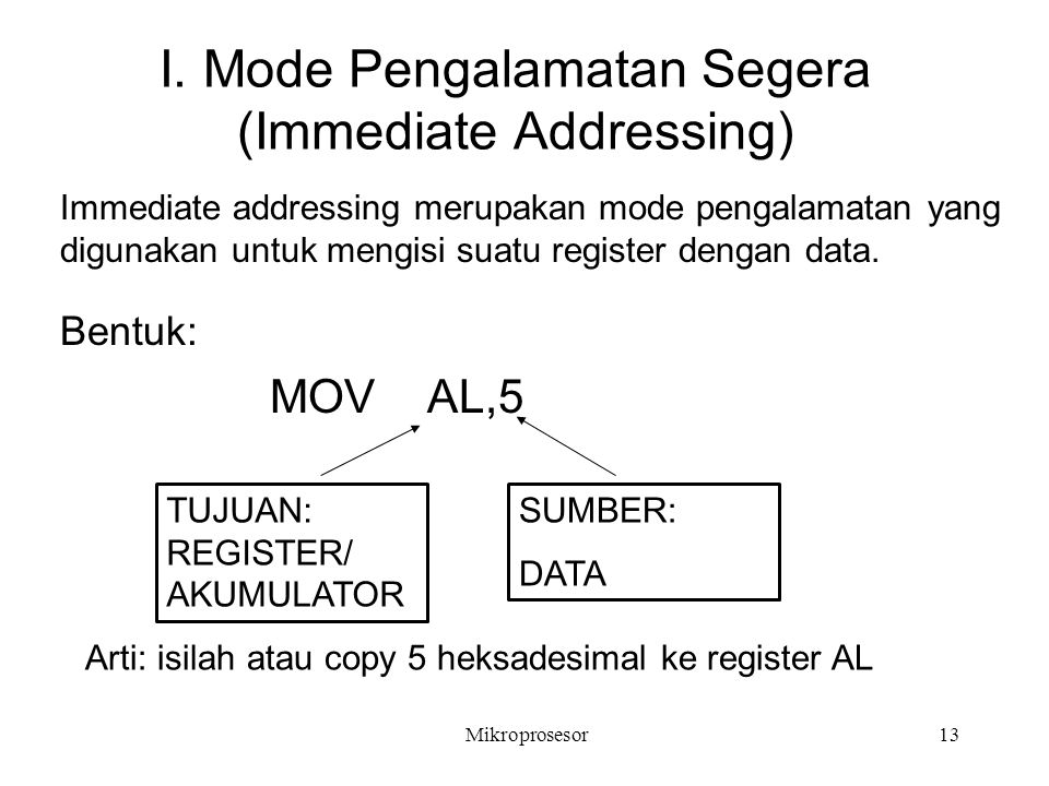 I. Mode Pengalamatan Segera (Immediate Addressing)
