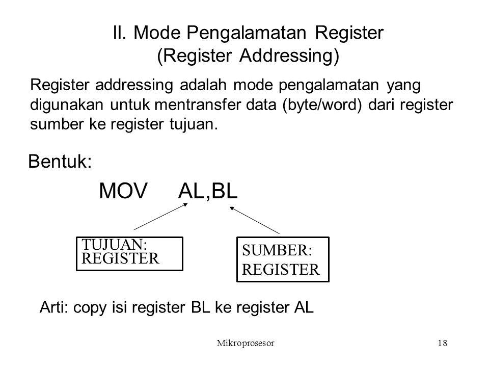 II. Mode Pengalamatan Register (Register Addressing)