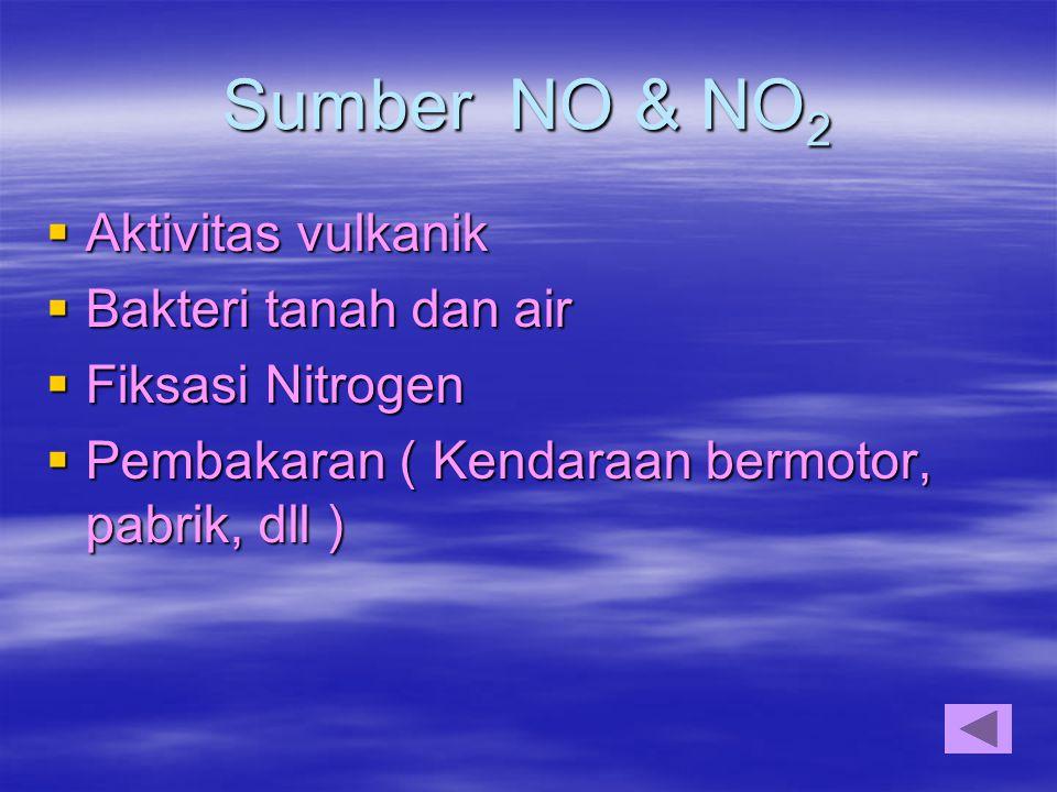 Sumber NO & NO2 Aktivitas vulkanik Bakteri tanah dan air