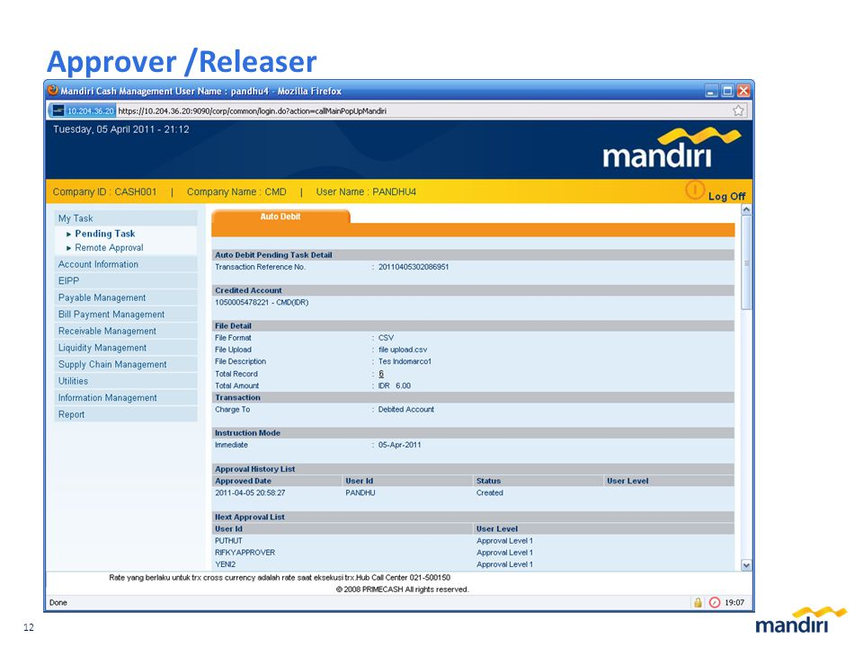 Approver /Releaser