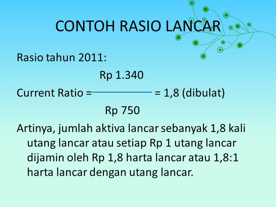 CONTOH RASIO LANCAR Rasio tahun 2011: Rp 1.340