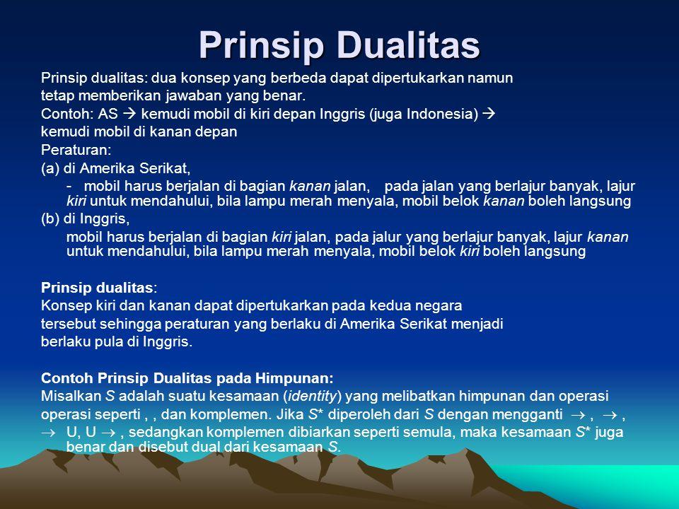 Prinsip Dualitas Prinsip dualitas: dua konsep yang berbeda dapat dipertukarkan namun. tetap memberikan jawaban yang benar.