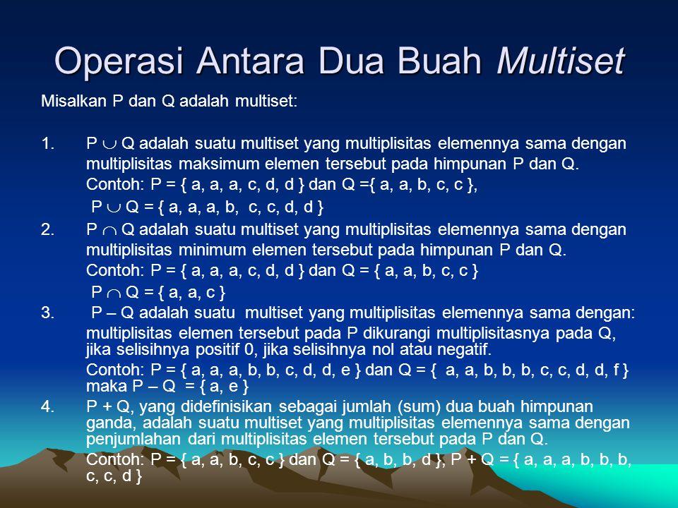 Operasi Antara Dua Buah Multiset