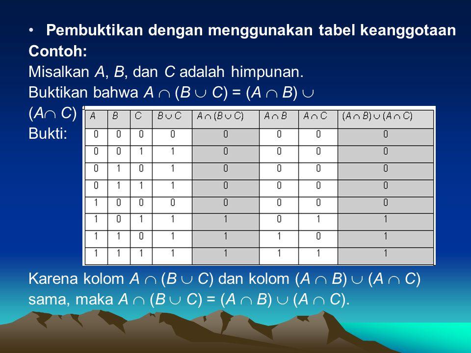 Pembuktikan dengan menggunakan tabel keanggotaan