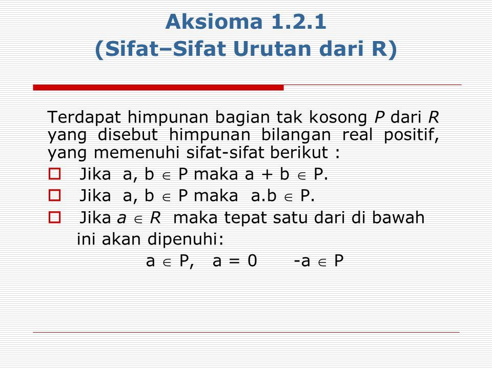 Aksioma 1.2.1 (Sifat–Sifat Urutan dari R)