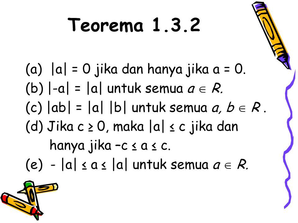 Teorema 1.3.2 (a) |a| = 0 jika dan hanya jika a = 0.