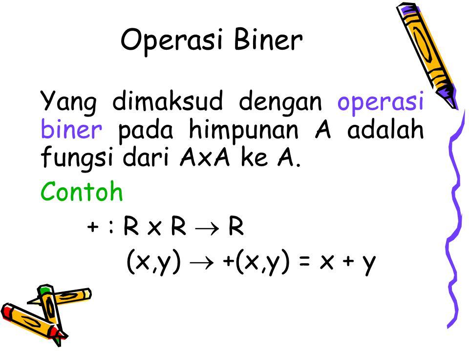 Operasi Biner Yang dimaksud dengan operasi biner pada himpunan A adalah fungsi dari AxA ke A. Contoh.