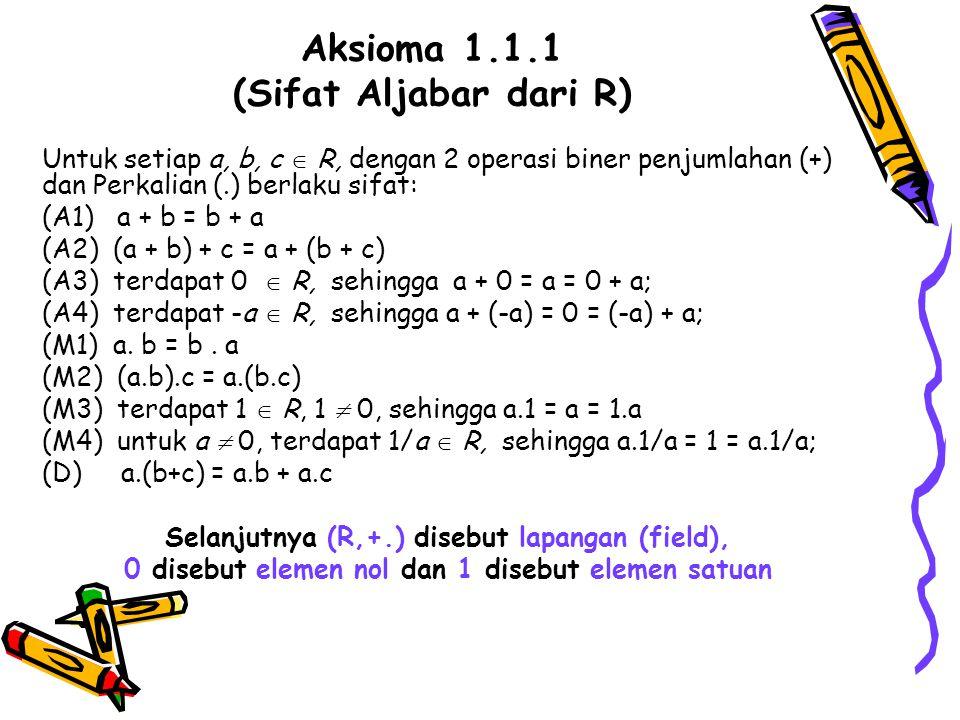 Aksioma 1.1.1 (Sifat Aljabar dari R)