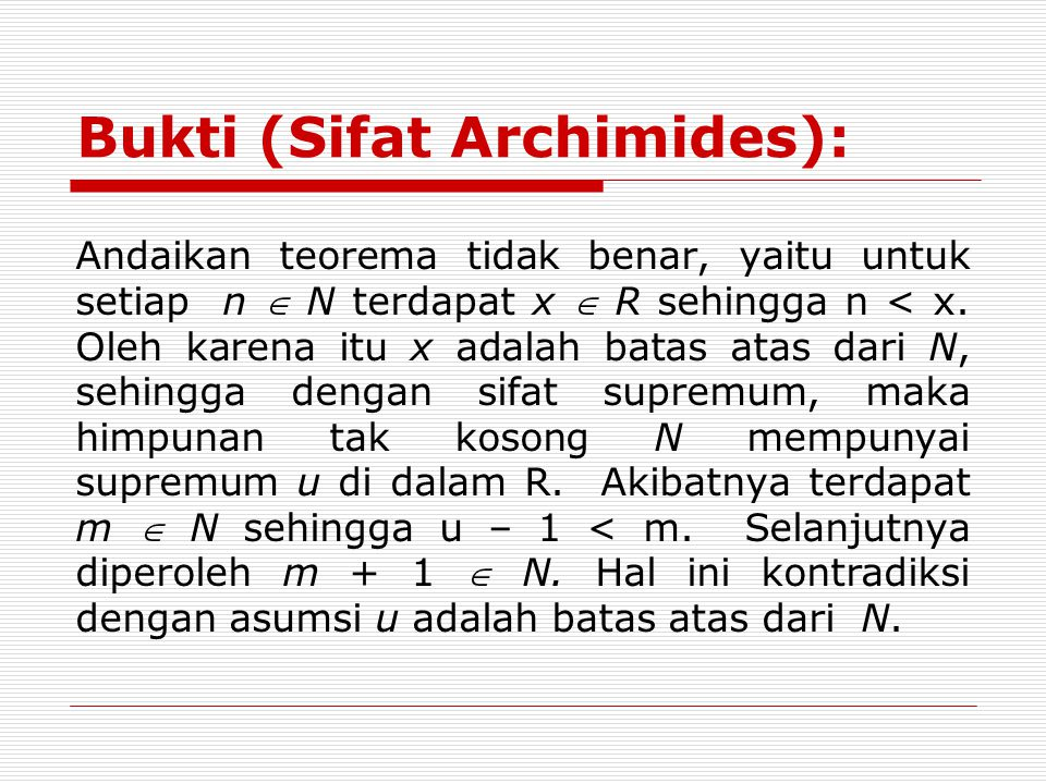 Bukti (Sifat Archimides):
