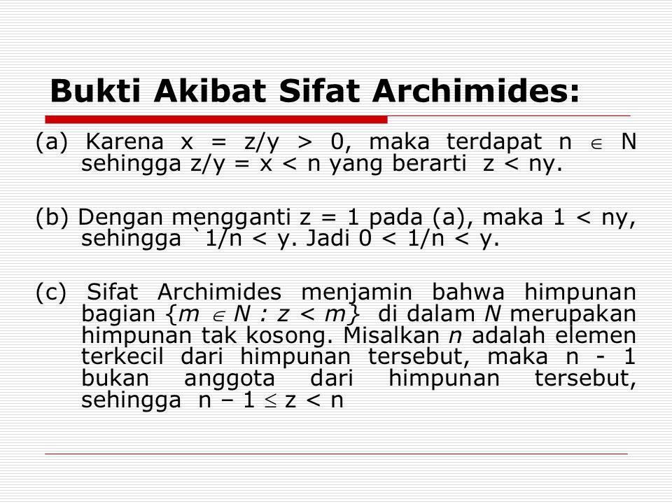 Bukti Akibat Sifat Archimides: