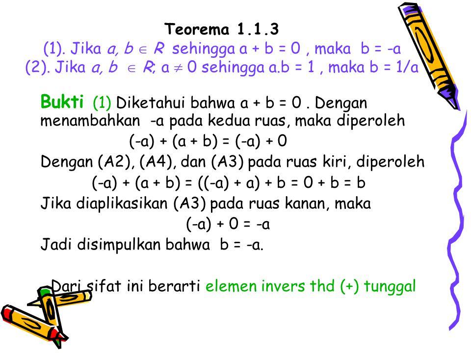 Dari sifat ini berarti elemen invers thd (+) tunggal