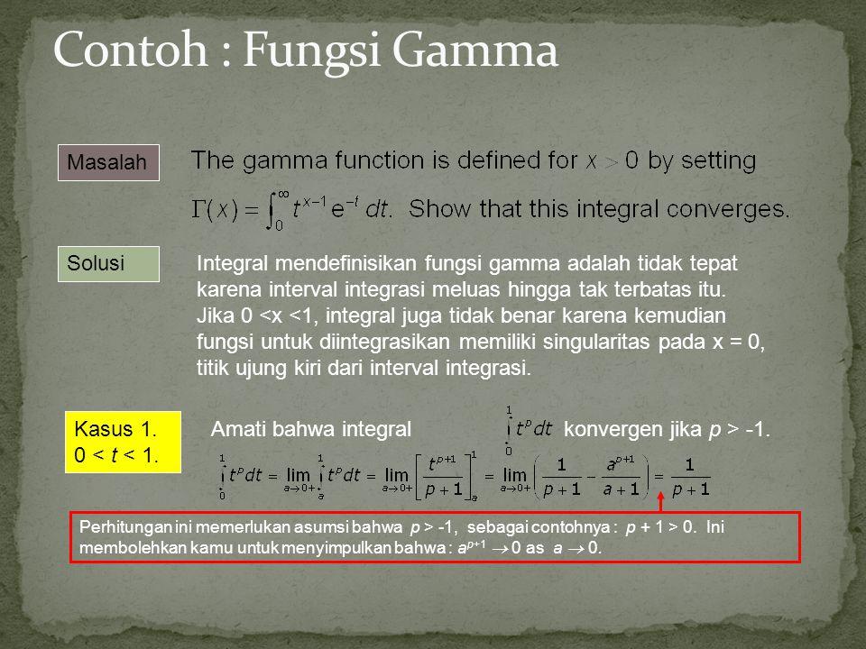 Contoh : Fungsi Gamma Masalah Solusi