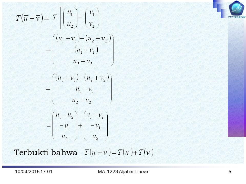 Terbukti bahwa 10/04/2017 13:15 MA-1223 Aljabar Linear