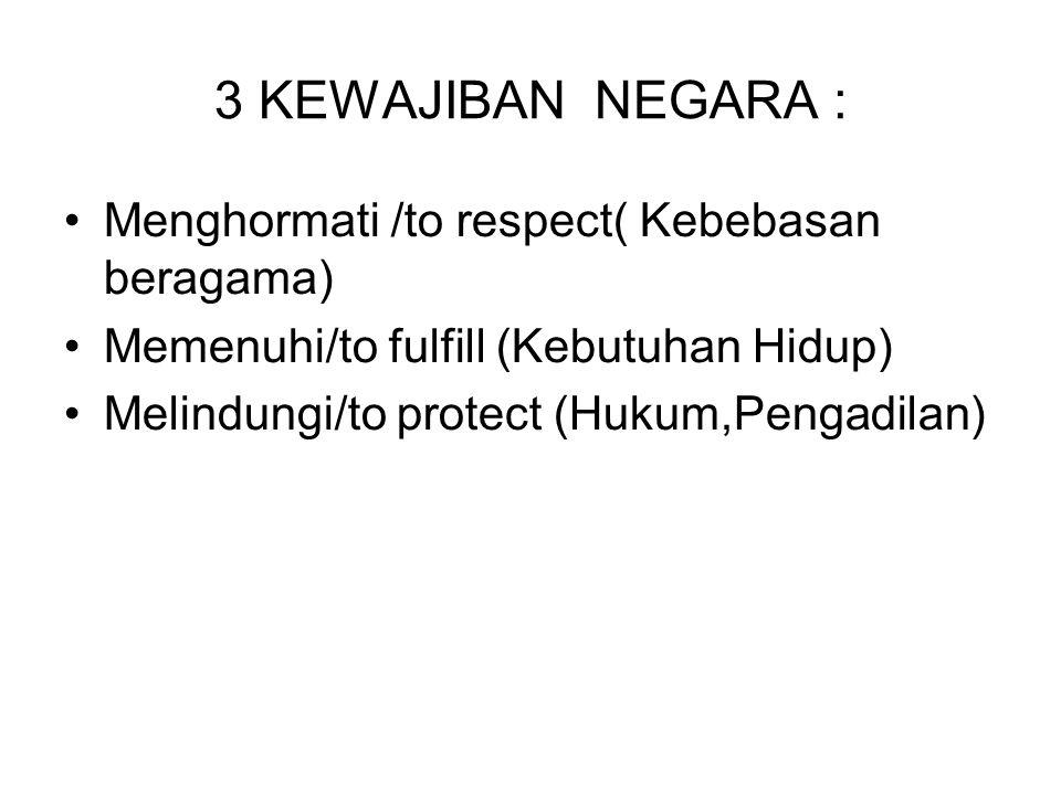 3 KEWAJIBAN NEGARA : Menghormati /to respect( Kebebasan beragama)