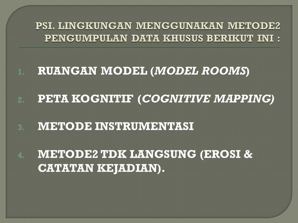 RUANGAN MODEL (MODEL ROOMS) PETA KOGNITIF (COGNITIVE MAPPING)