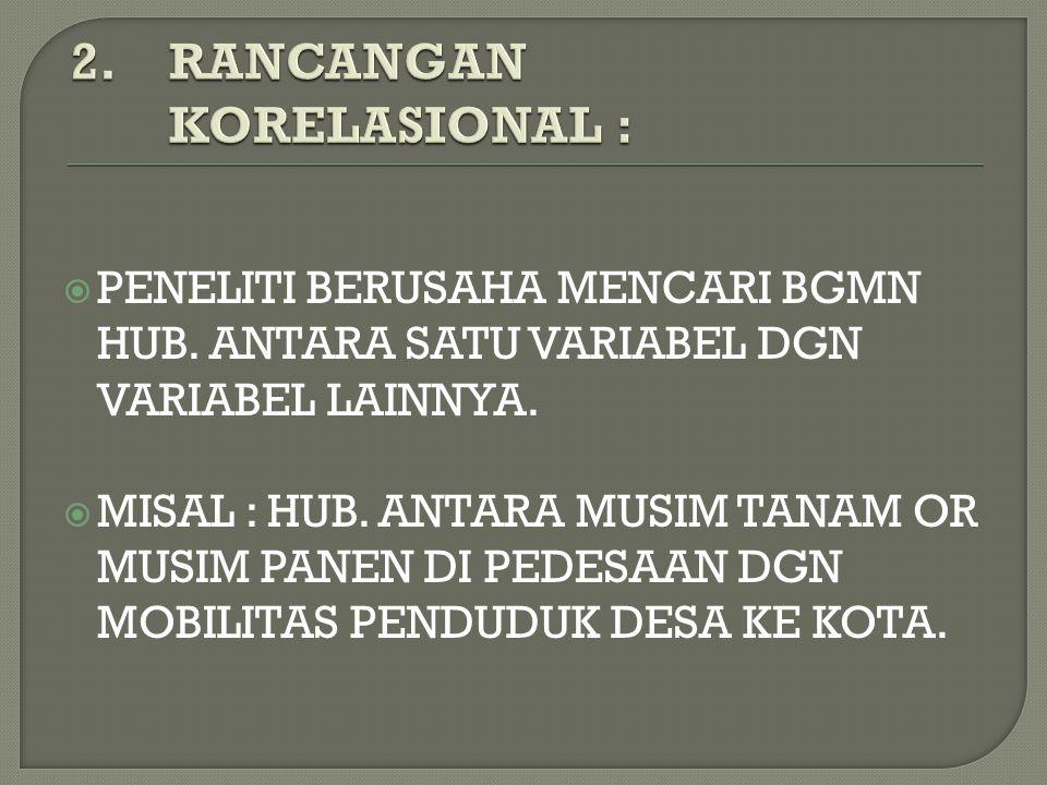 2. RANCANGAN KORELASIONAL :