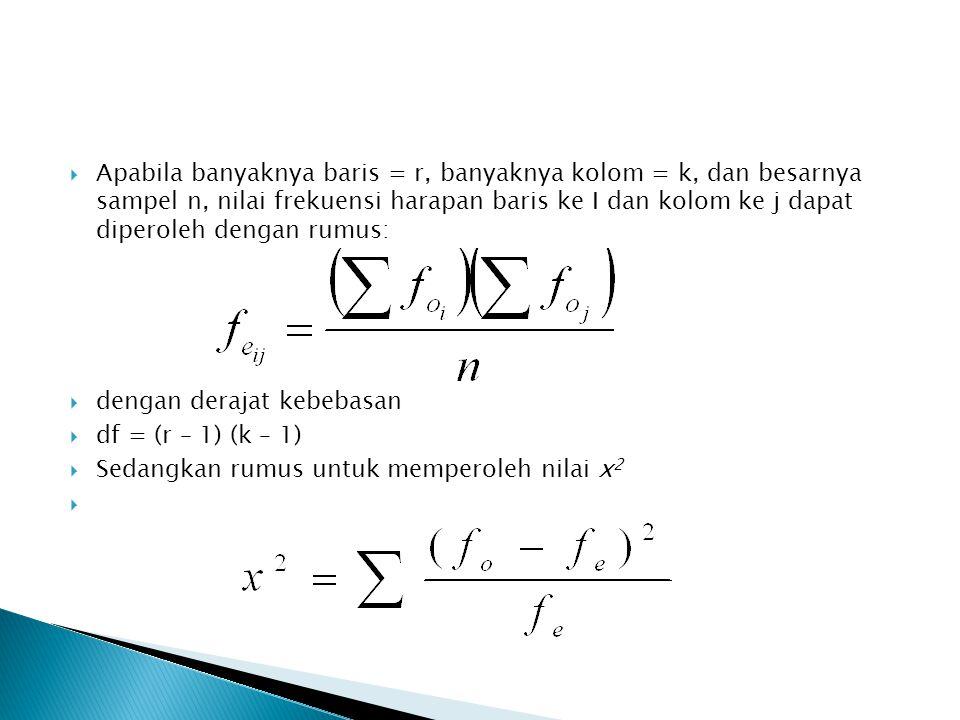 Apabila banyaknya baris = r, banyaknya kolom = k, dan besarnya sampel n, nilai frekuensi harapan baris ke I dan kolom ke j dapat diperoleh dengan rumus: