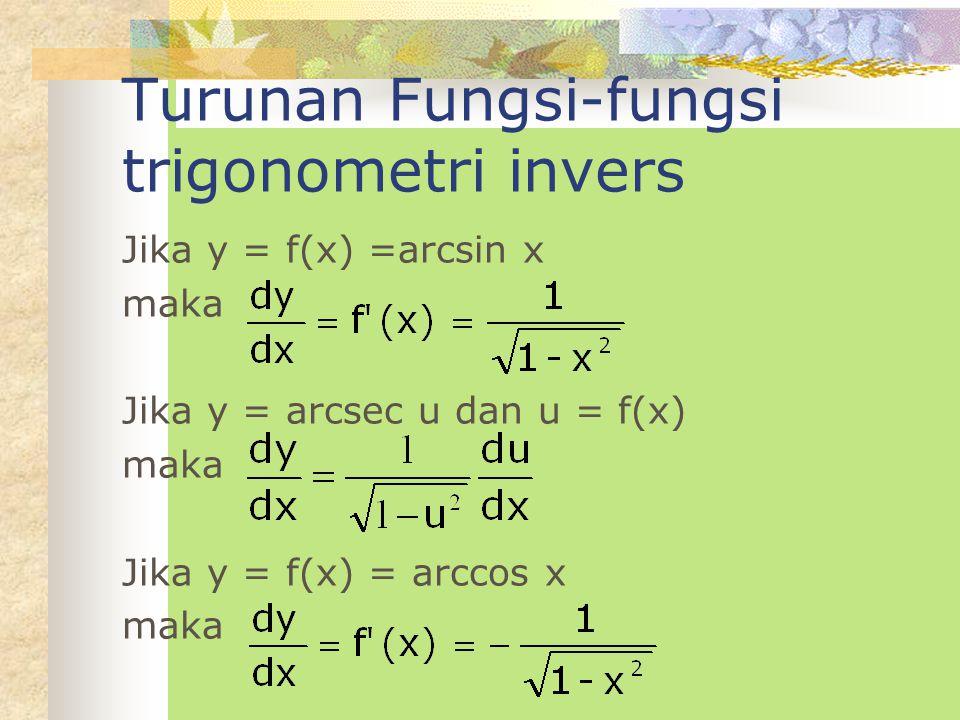 Turunan Fungsi-fungsi trigonometri invers