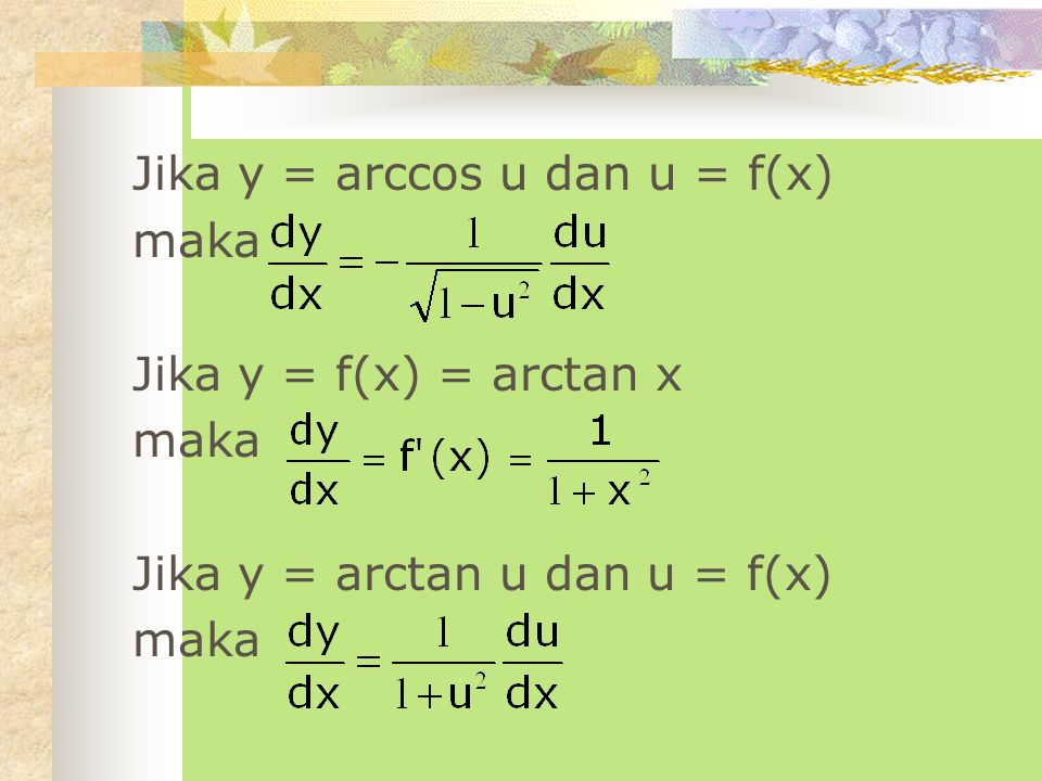Jika y = arccos u dan u = f(x)