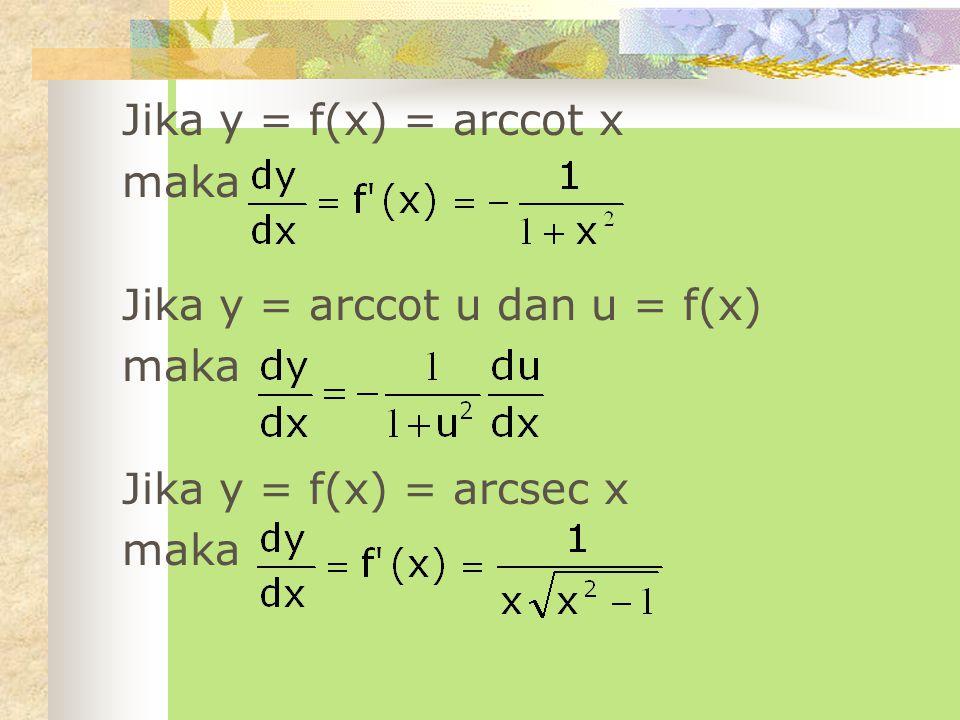 Jika y = f(x) = arccot x maka Jika y = arccot u dan u = f(x) Jika y = f(x) = arcsec x