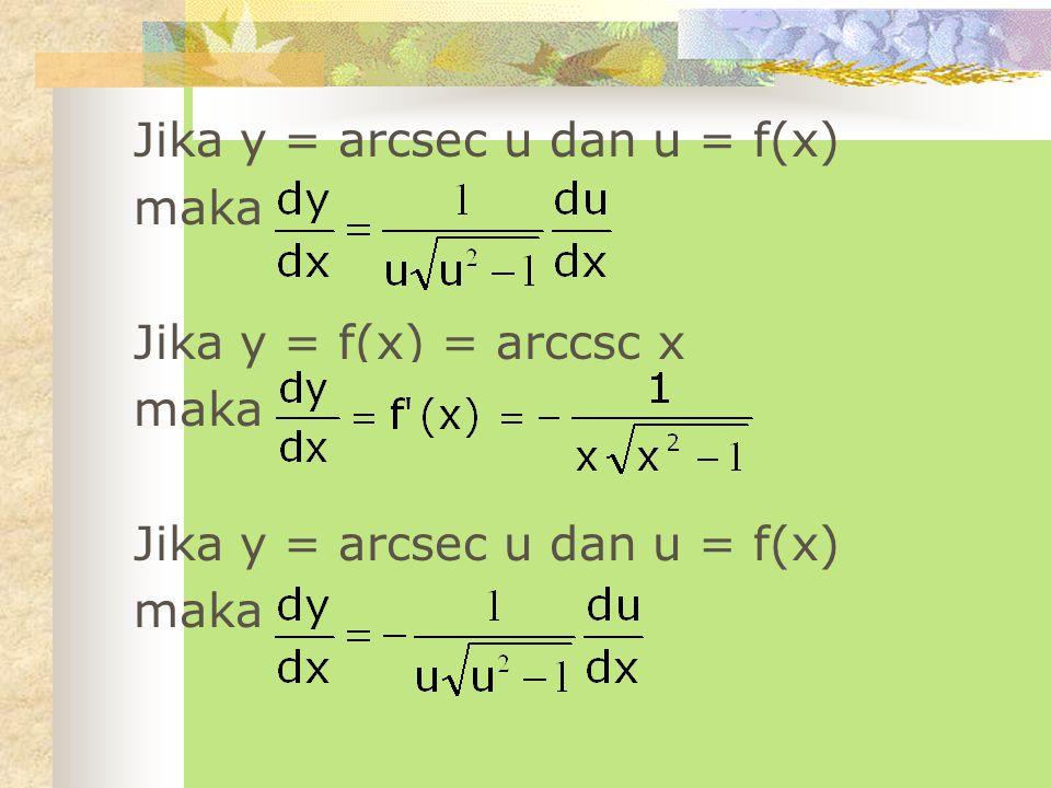 Jika y = arcsec u dan u = f(x)