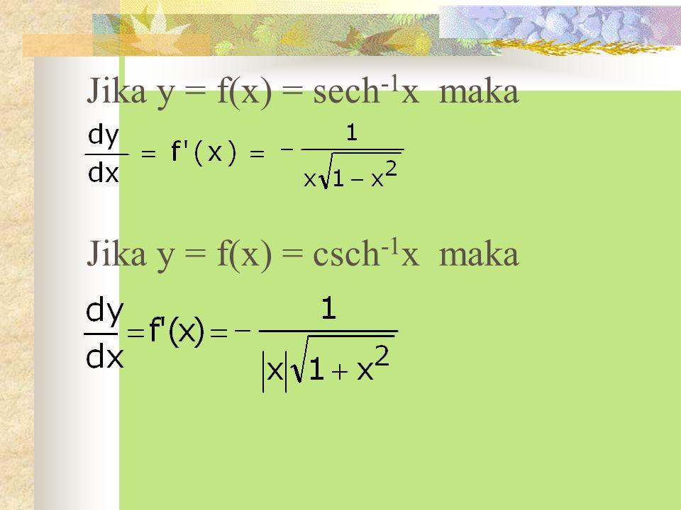 Jika y = f(x) = sech-1x maka