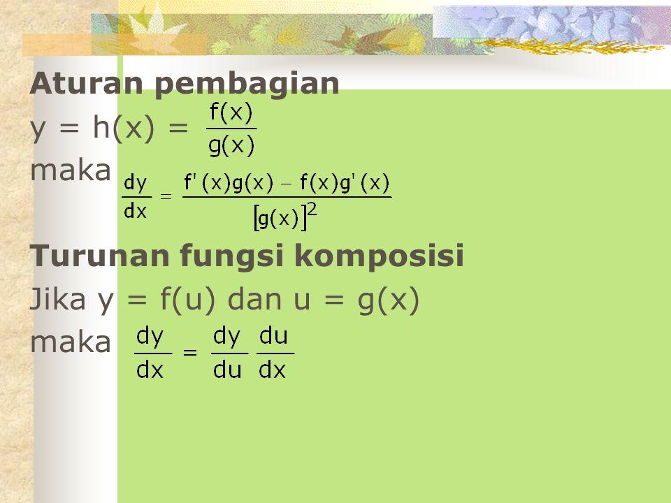 Aturan pembagian y = h(x) = maka Turunan fungsi komposisi Jika y = f(u) dan u = g(x)