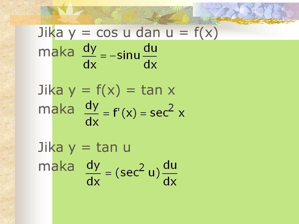 Jika y = cos u dan u = f(x) maka Jika y = f(x) = tan x Jika y = tan u