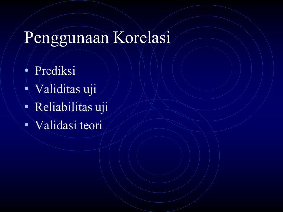 Penggunaan Korelasi Prediksi Validitas uji Reliabilitas uji