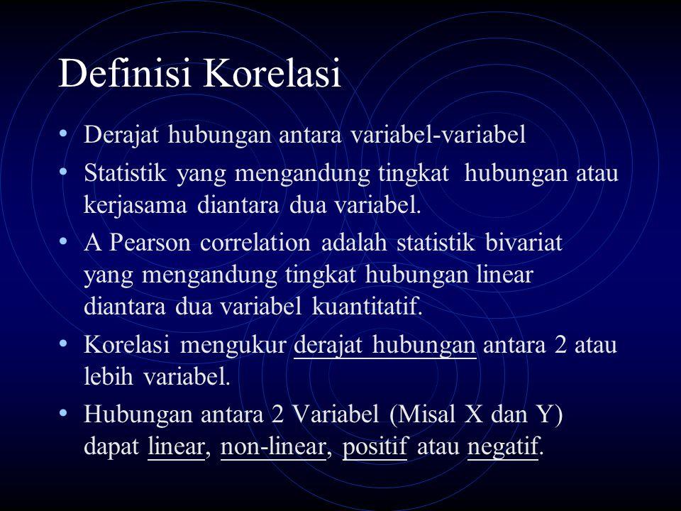 Definisi Korelasi Derajat hubungan antara variabel-variabel