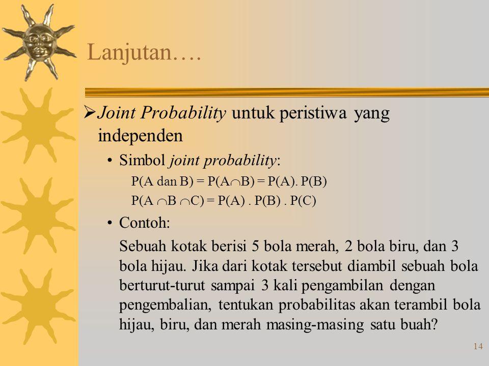 Lanjutan…. Joint Probability untuk peristiwa yang independen