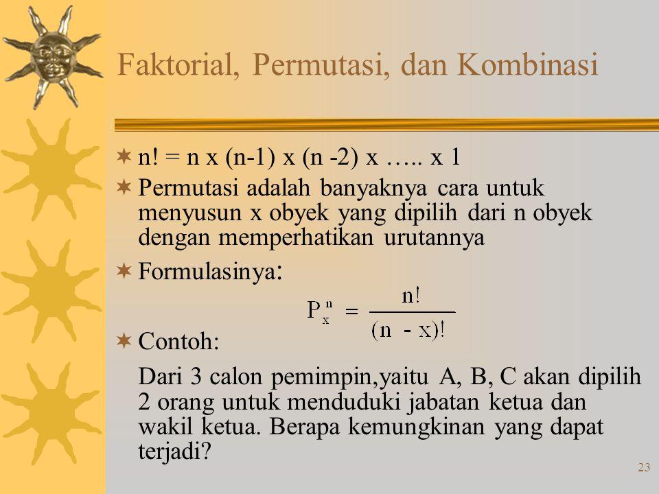 Faktorial, Permutasi, dan Kombinasi