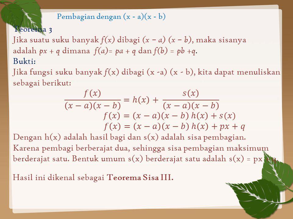 Pembagian dengan (x - a)(x - b)