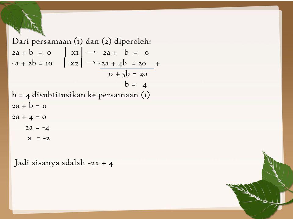 Dari persamaan (1) dan (2) diperoleh: