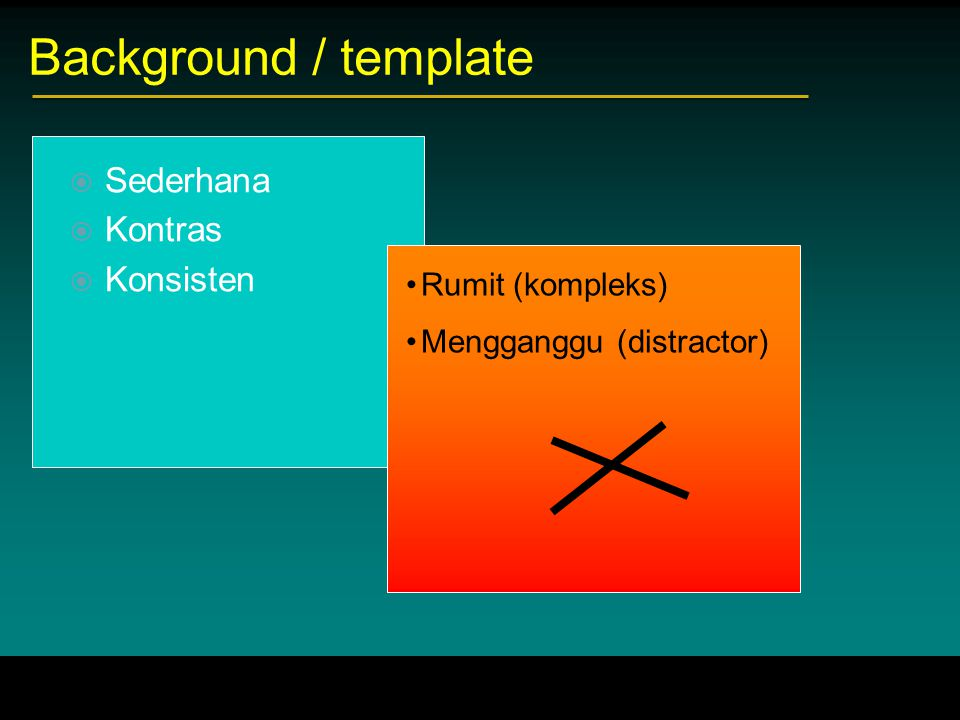 Background / template Sederhana Kontras Konsisten Rumit (kompleks)