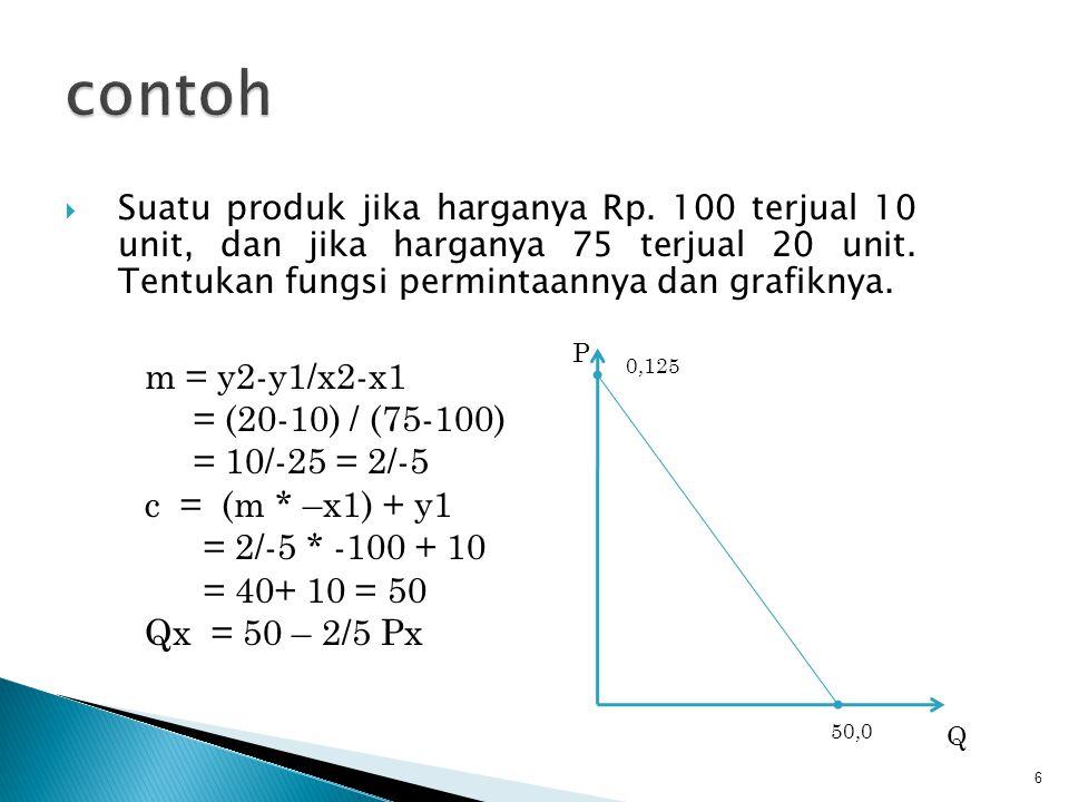 contoh m = y2-y1/x2-x1 = (20-10) / (75-100) = 10/-25 = 2/-5
