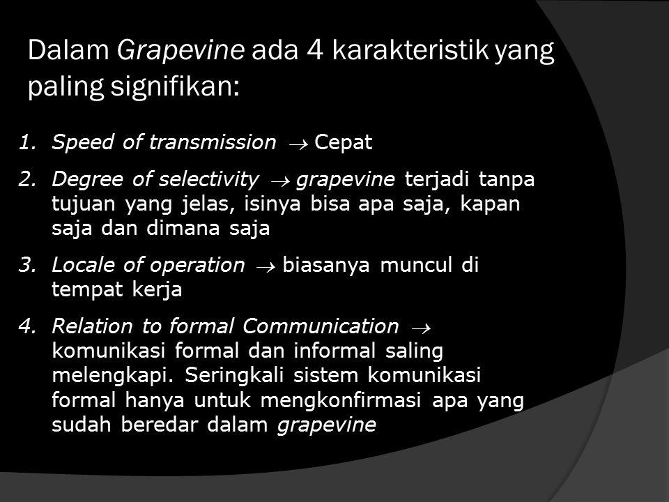 Dalam Grapevine ada 4 karakteristik yang paling signifikan: