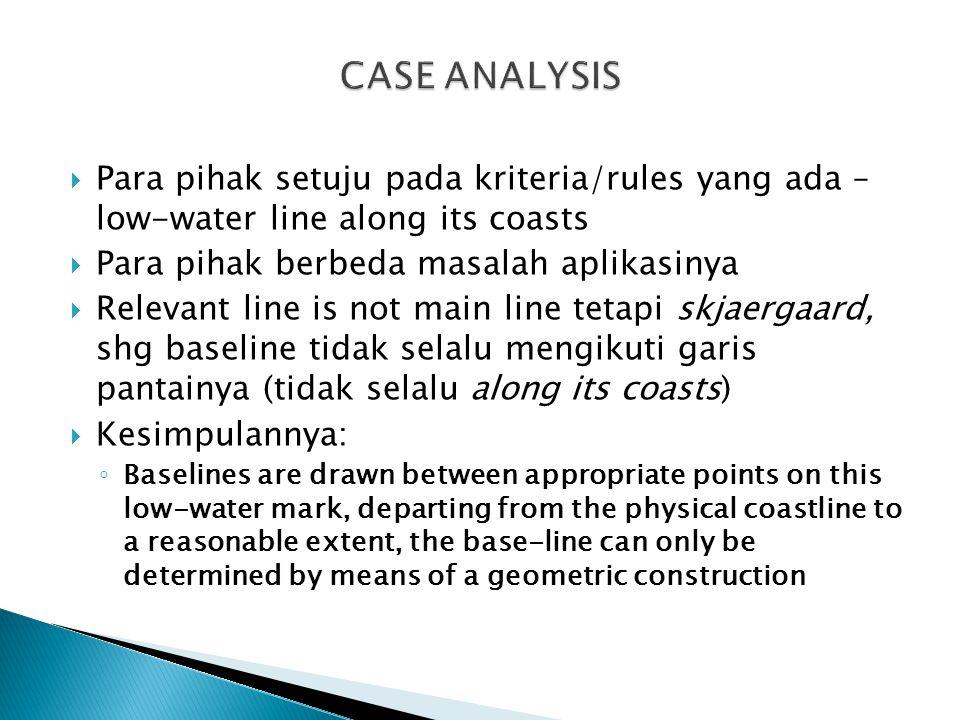 CASE ANALYSIS Para pihak setuju pada kriteria/rules yang ada – low-water line along its coasts. Para pihak berbeda masalah aplikasinya.