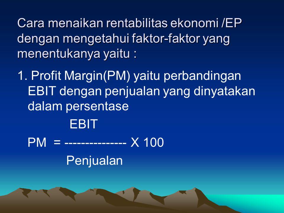 Cara menaikan rentabilitas ekonomi /EP dengan mengetahui faktor-faktor yang menentukanya yaitu :