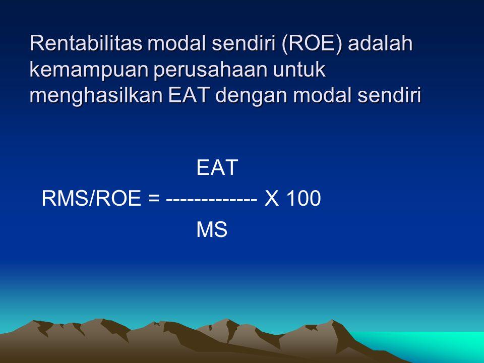 Rentabilitas modal sendiri (ROE) adalah kemampuan perusahaan untuk menghasilkan EAT dengan modal sendiri